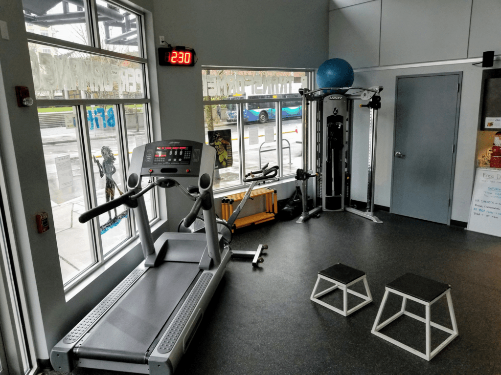 treadmill, cable machine, plyo boxes