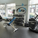 gym photo dumbbells benches