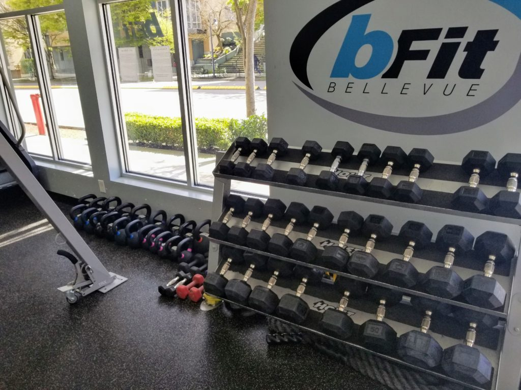 dumbbells and kettlebells gym photo